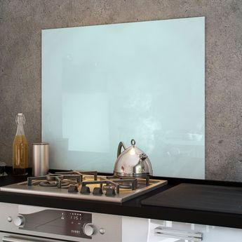 Crédence cuisine fond de hotte verre brillant - Blanc - Hauteur 45cm