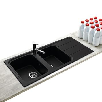 vier encastrer en granit noir holiday 2 bacs avec gouttoir. Black Bedroom Furniture Sets. Home Design Ideas