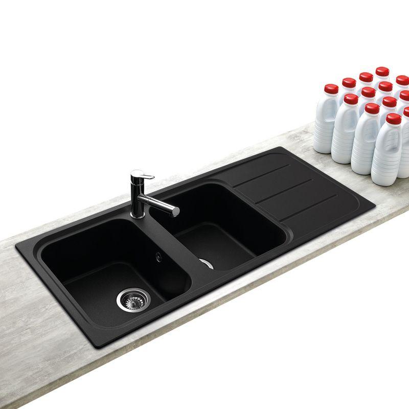 vier encastrer oglio 2 bacs avec gouttoir coloris noir. Black Bedroom Furniture Sets. Home Design Ideas