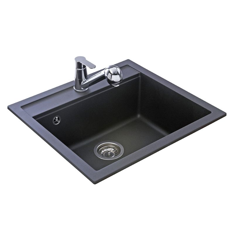 Evier granit noir 1 bac sans gouttoir 565x500 quadris for Evier 1 bac dimension