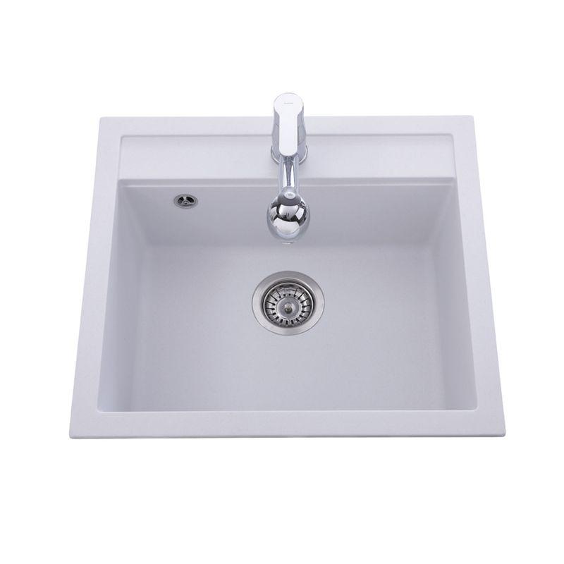 Evier Granit Blanc 1 Bac Sans égouttoir 565x500 Quadris Des