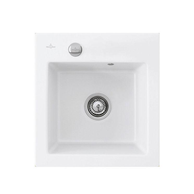 Evier céramique blanc Villeroy & Boch SUBWAY PURE 1 bac 475x510