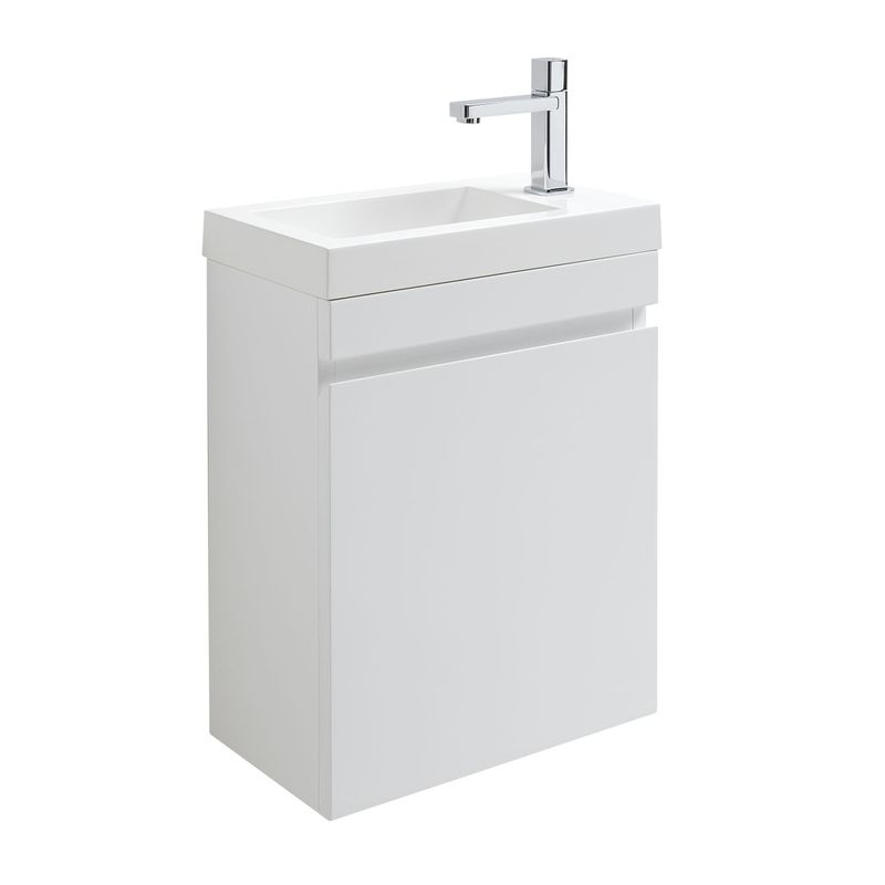 Lot meuble lave mains blanc robinet chrom ricochet - Meuble lave main wc leroy merlin ...
