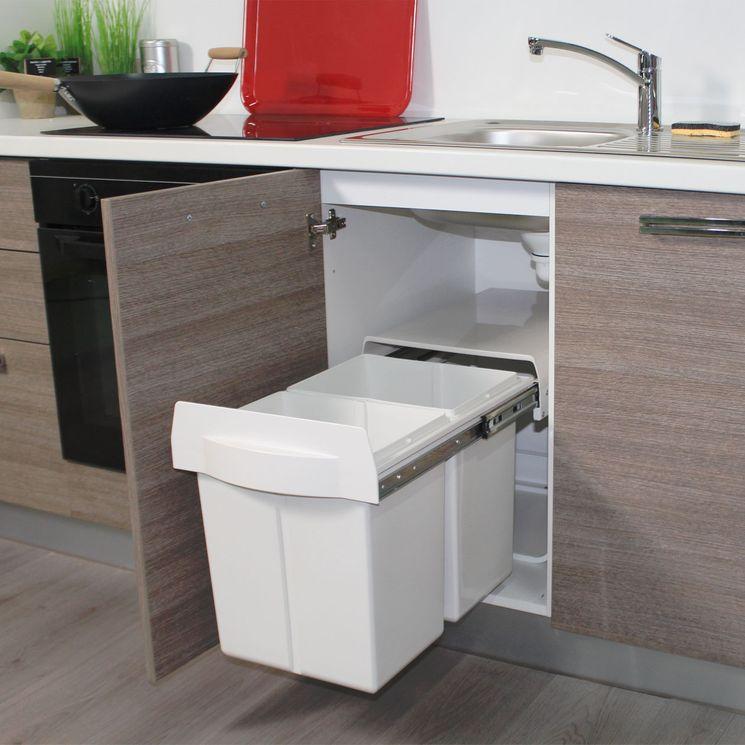 Poubelle de cuisine encastrable POPPY - 2x20 litres