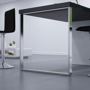 Pied De Table Forme Rectangle En Metal Chrome Hauteur Reglable