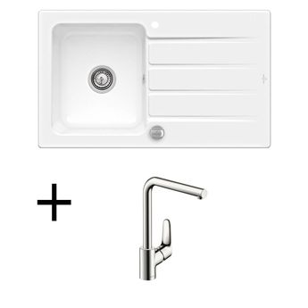 Lot Evier céramique blanc ARCHITECTURA 1 bac + Mitigeur HANSGROHE CRBMI189