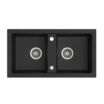 vier encastrer en granit noir holiday 2 bacs avec. Black Bedroom Furniture Sets. Home Design Ideas