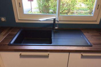 Evier schock de la gamme element 1 grand bac 1 gouttoir - Evier granit de design moderne par schock ...