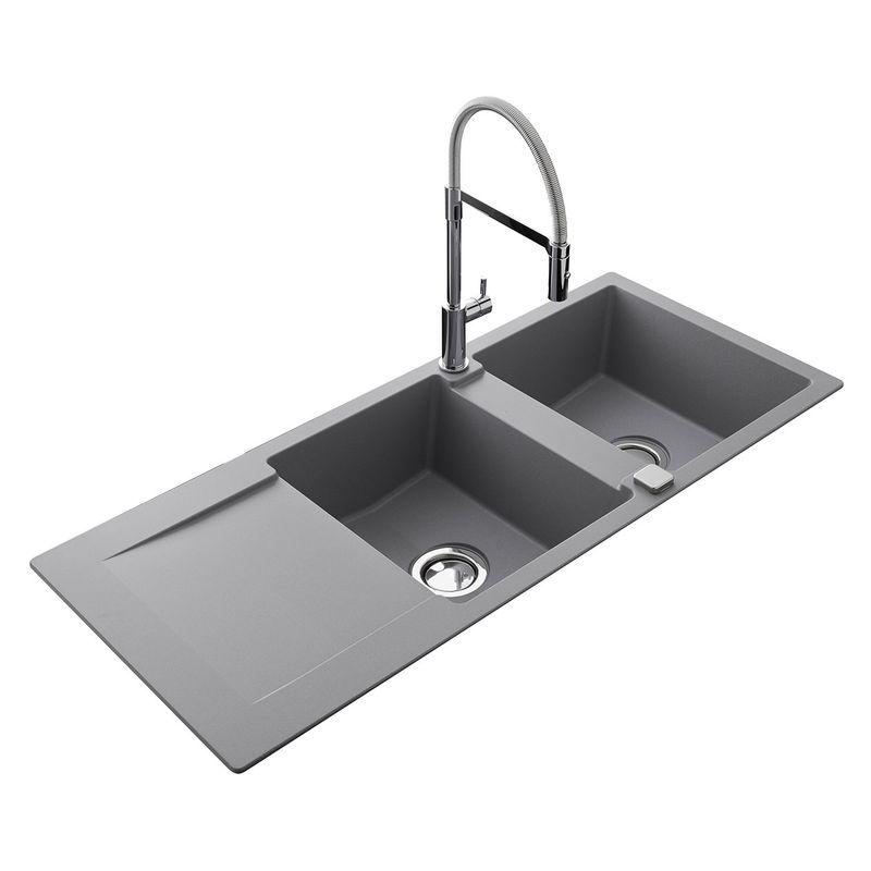 evier luisina epure 2 bacs r versible en granit gris ev2821 022. Black Bedroom Furniture Sets. Home Design Ideas