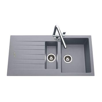 Évier granit gris ALBEY 1 bac 1/2 - 1 égouttoir