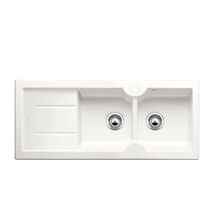 Evier céramique blanc brillant BLANCO IDESSA 8 S 2 bacs - égouttoir à droite