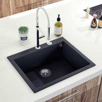 Évier Granit Noir Moucheté Ewi URBIA 1 Bac 610x500