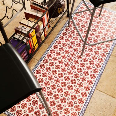 Tapis en vinyle pour la cuisine motif VINTAGE rouge | Cuisissimo