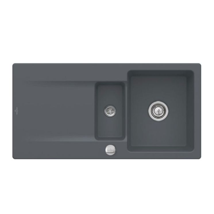 Evier à encastrer CeramicPlus gris anthracite Villeroy & Boch SILUET 60 1 bac 1/2 1 égouttoir