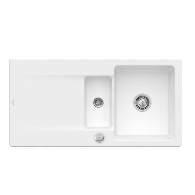 Evier à encastrer CeramicPlus blanc mat Villeroy & Boch SILUET 60 1 bac 1/2 1 égouttoir