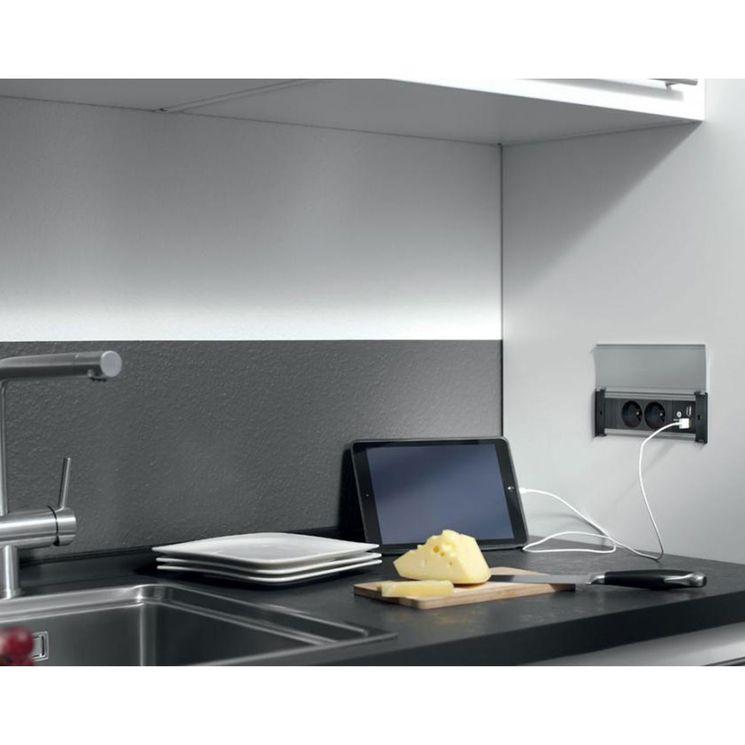 Prise de cuisine - Bloc CLAP 2 prises + 2 USB à encastrer inox