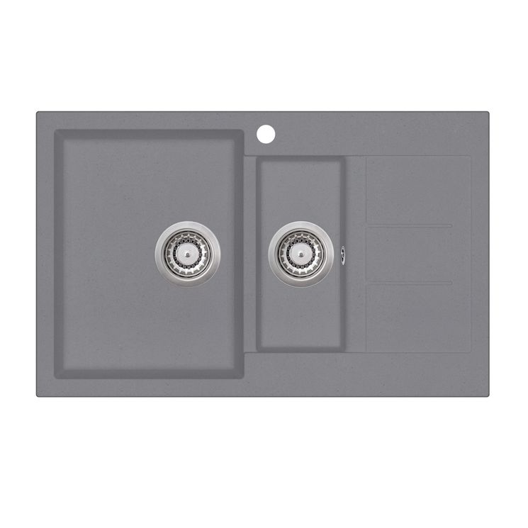 Evier granit gris Aquasanita TESIS 1 bac 1/2 bac - 1 petit égouttoir