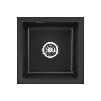Evier sous plan céramique Luisina noir brillant RUBATO 1 bac 436x441