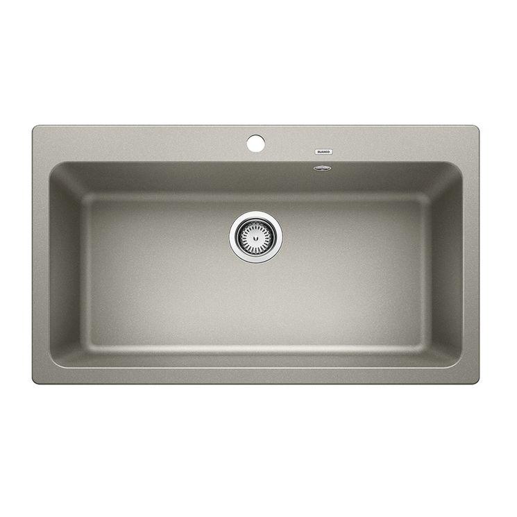 Evier granit BLANCO NAYA XL 9 gris perle 1 grand bac