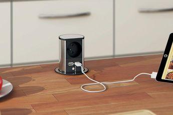 Prise de cuisine - Bloc SUTTON rétractables 1 prise + 2 ports USB