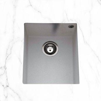 Évier sous plan granit gris Luisina QUADRILLE 1 bac  380x440