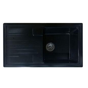 Evier céramique noir mat EWI AGLAE 1 bac 1 égouttoir