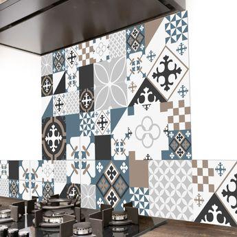 Crédence cuisine aluminium 99 Déco - Carreaux de Ciment PATTY Bleu foncé gris