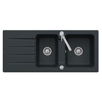 Evier céramique noir mat ebony Villeroy & Boch ARCHITECTURA 2 bacs 1 égouttoir