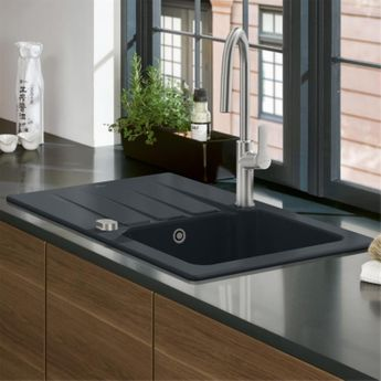 Evier céramique noir mat ebony Villeroy & Boch ARCHITECTURA 1 grand bac 1 égouttoir