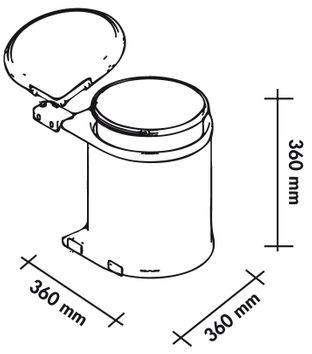 poubelle de cuisine ronde encastrable 14 litres cacpo002. Black Bedroom Furniture Sets. Home Design Ideas