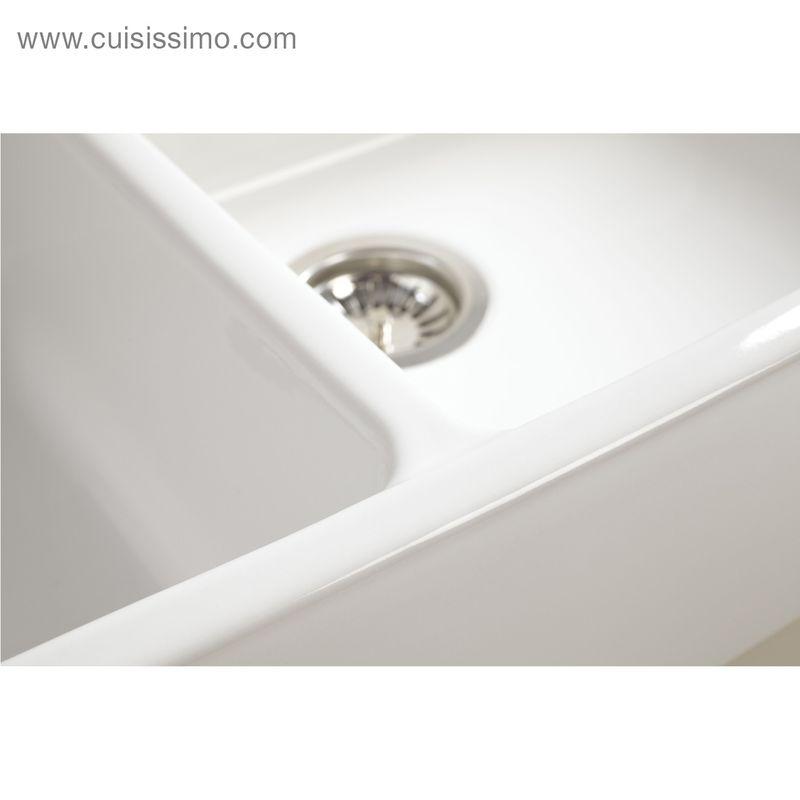 vier poser c ramique chambord ekio blanc 2 bacs cuisissimo. Black Bedroom Furniture Sets. Home Design Ideas