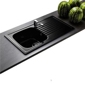 lot evier c ramique noir 1 bac targa mitigeur hansa crbmi142 cuisissimo. Black Bedroom Furniture Sets. Home Design Ideas