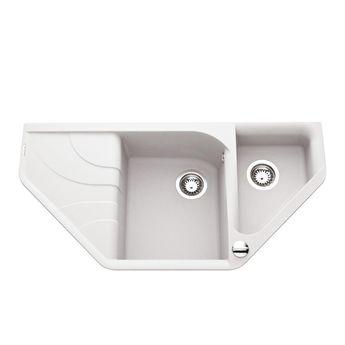 Évier d´angle granit  blanc Elleci AVARA  1 bac 1/2 - Égouttoir à gauche