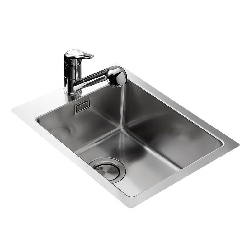 Affordable vier inox lisse apell bac sans gouttoir x orus for Meuble evier inox