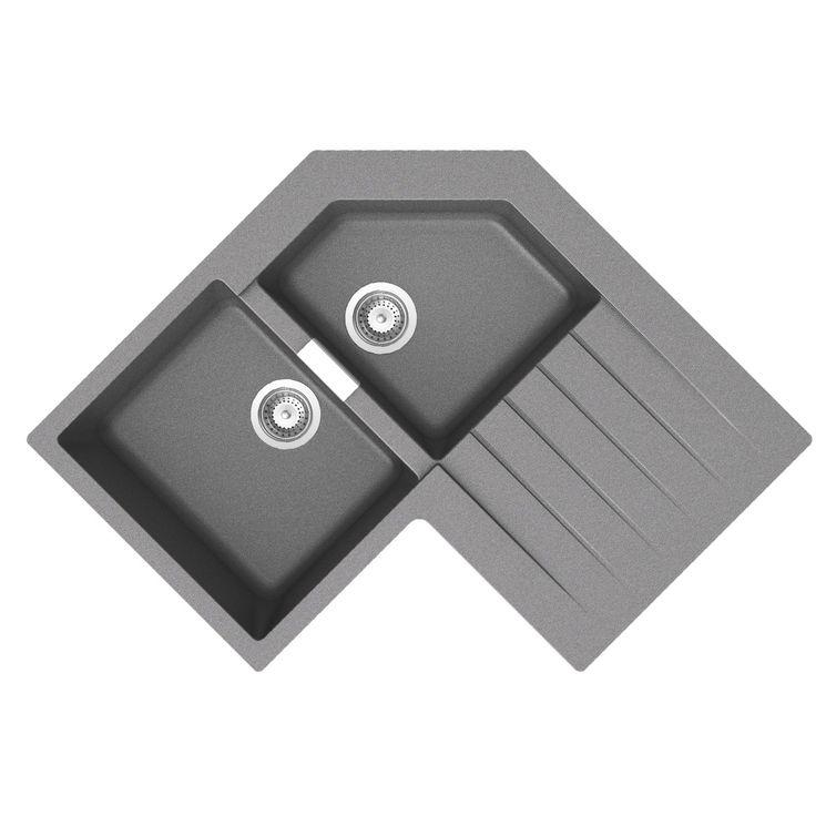 Évier d´angle granit gris Schock LOKTI 2 bacs 1 égouttoir